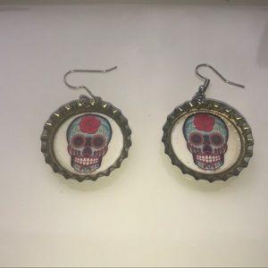 Very Unique Sugar Skull Bottle Cap Earrings
